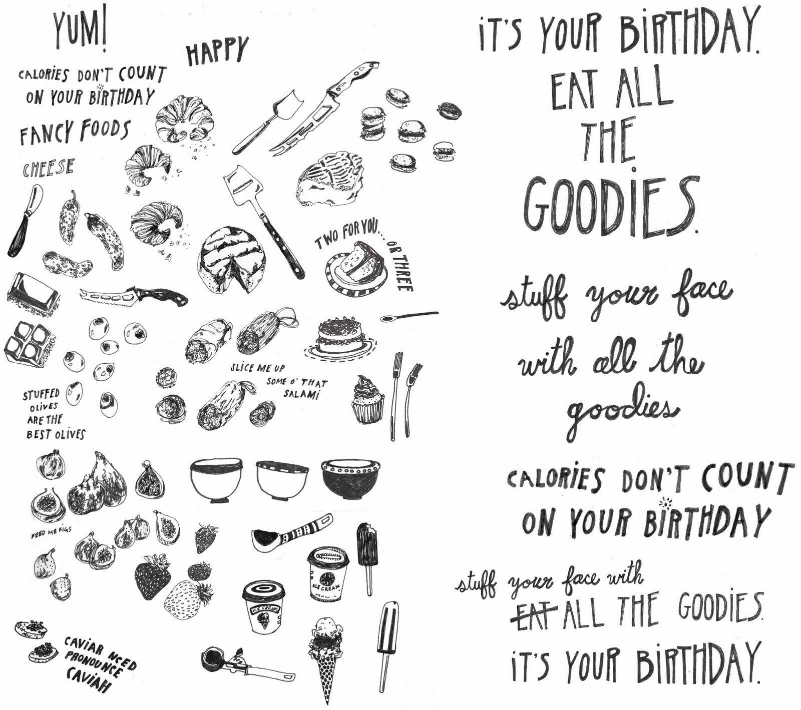 ideas for drawing birthday cards ; bday+goodiesEdit