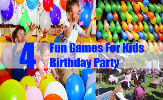 indoor birthday party activities ; Four-Fun-Games-For-Kids-Birthday-Party