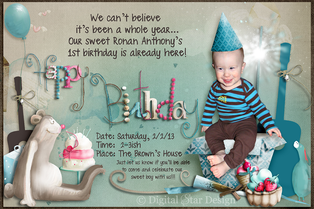invitation card design for 1st birthday party ; Ronans-1st-bday-sample