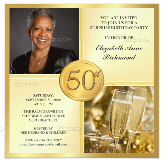 invitation card design for 50th birthday party ; Gold-Coloured-50th-Birthday-Invitation-with-Custom-Photo