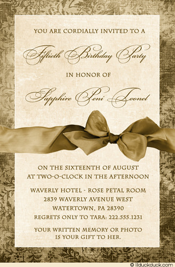 invitation card design for 50th birthday party ; vintage-fiftieth-birthday-party-invitation-ivory-golden-floral
