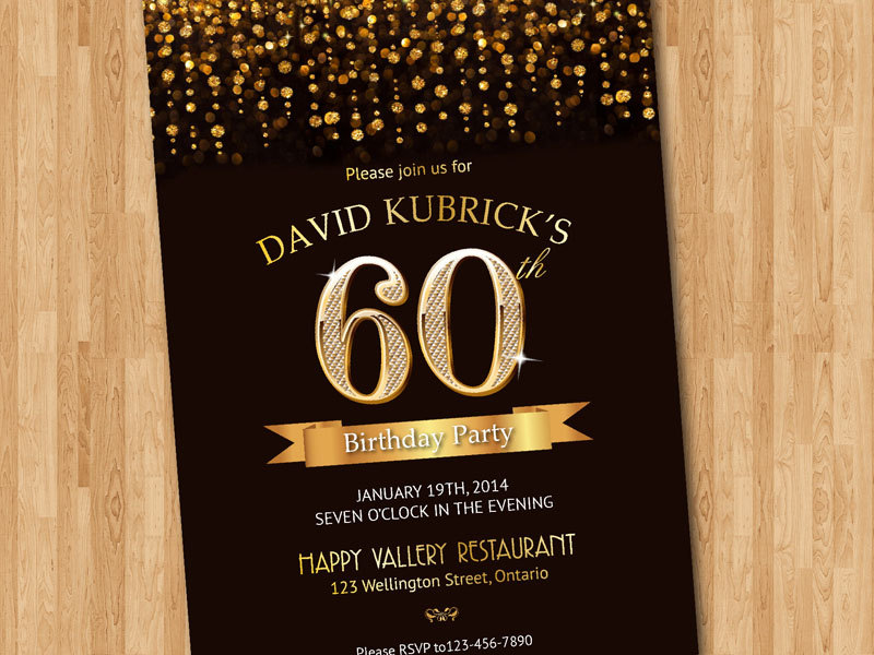 invitation card design for 60th birthday ; 60th-bday-invitation-60th-birthday-invitation-gold-glitter-diamond-number-birthday