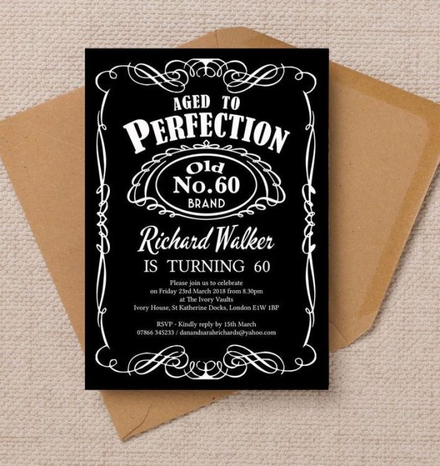 invitation card design for 60th birthday ; 60th-birthday-party-invitations-dad-gallery-enticing-whiskey-label-themed-invitation-620x657