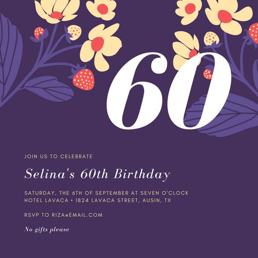 invitation card design for 60th birthday ; canva-colorful-flowers-purple-60th-birthday-invitation-MACFOWHgYPI