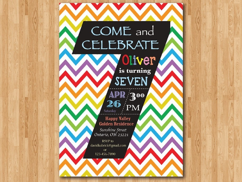 invitation card design for 7th birthday boy ; rainbow-7th-birthday-invitation-colorful-chevron-birthday-for-7th-birthday-invitation-card-design-blank-for-boys