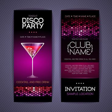invitation card design for birthday party free ; disco_party_invitation_cards_creative_vector_580283