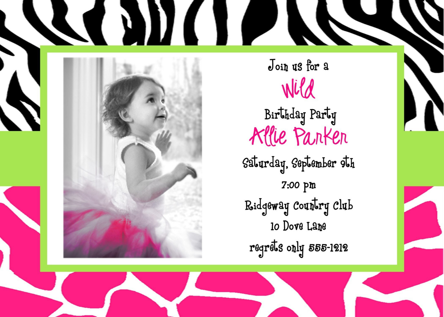invitation card design for birthday party free ; kids-designing-free-printable-invitation-cards-template-ideas-zebra-colorful-motive-background-real-photo-format
