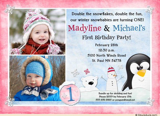 invitation quotes for 1st birthday party ; penguin-snowman-polar-bear-twin-1st-birthday-pink-girl-blue-boy-2-photo-l