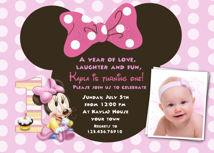 invitation quotes for first birthday party ; minnie1