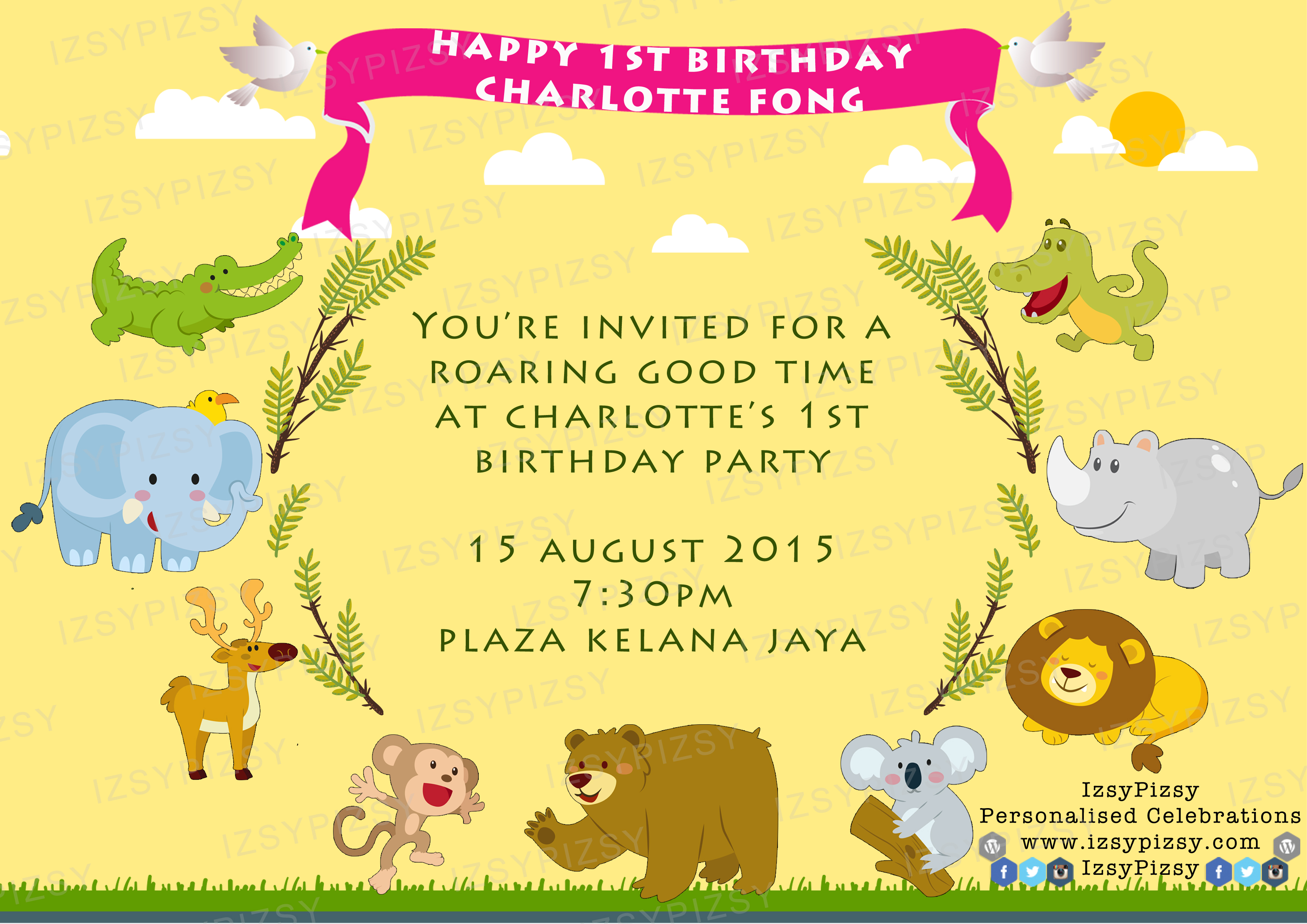 jungle theme birthday card ; Safari-Theme-Birthday-Invitation-combined-with-your-creativity-will-make-this-looks-awesome-4