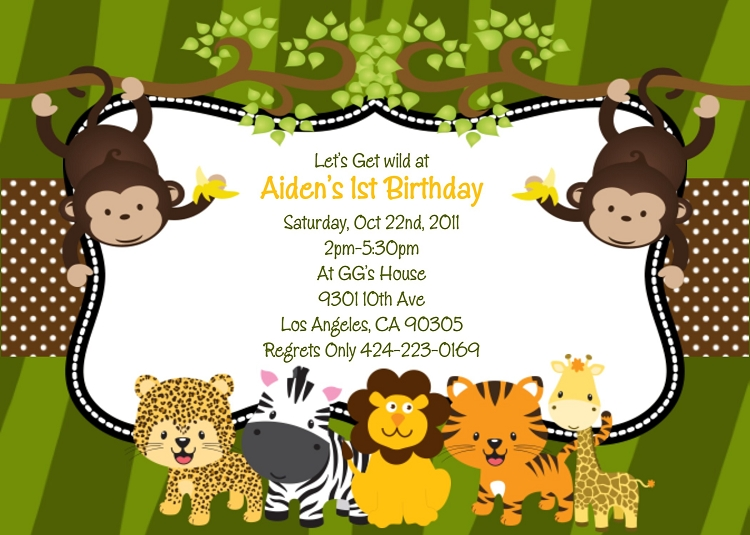 jungle theme birthday card ; aiden-page1