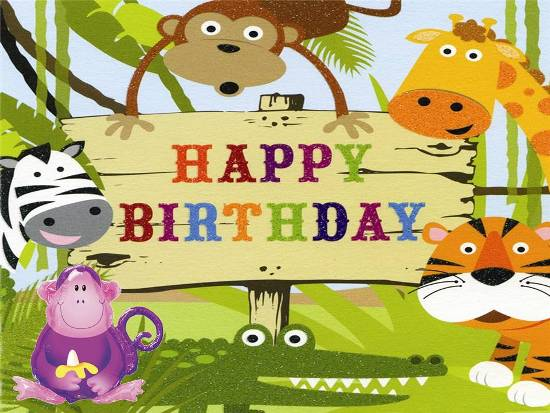 jungle theme birthday card ; cute-birthday-card-for-young-ones-jungle-theme-animals-monkey-zebra-giraffe-and-tiger-with-unique-design-birthday-card-for-kids