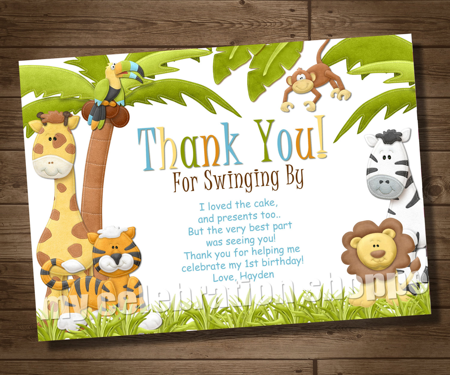 jungle theme birthday card ; i-loved-the-cake-and-present-too-but-the-very-best-part-was-seeing-you-thanks-for-helping-me-celebrate-my-birthday-jungle-thank-you-cards-love-hayden