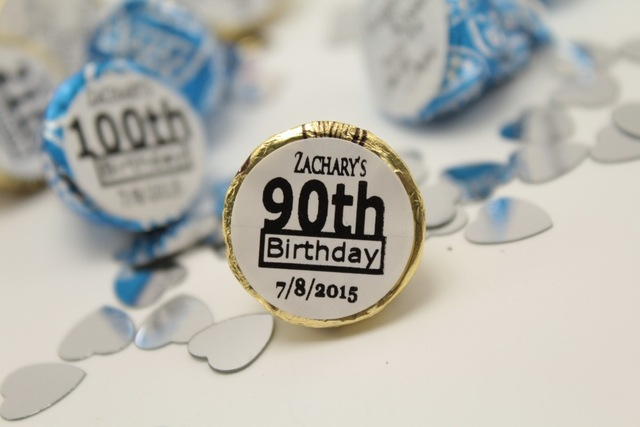 labels for birthday party favors ; 108pcs-adults-90th-birthday-party-favors-custom-personalize-hershey-kiss-sticker-labels