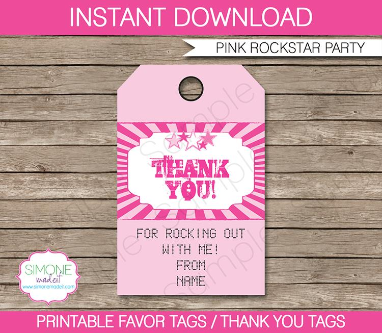 labels for birthday party favors ; Rockstar-Party-Favor-Tags-pink