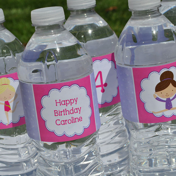 labels for birthday party favors ; gymnastics-tumbling-birthday-party-water-bottle-labels-personalized-birthday-party-napkins