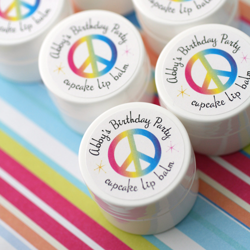 labels for birthday party favors ; kids-peace-sign-lip-balms