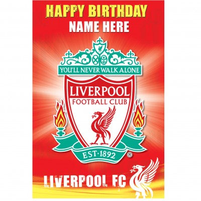 liverpool fc signed birthday card ; liverpool_crest_card