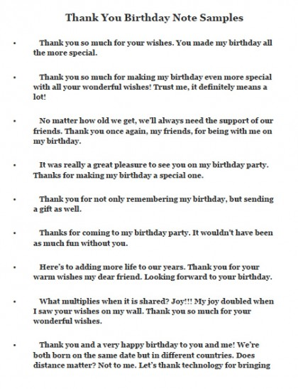 message of thanks to friends for birthday wishes ; thank-you-birthday-note-samples-420x547
