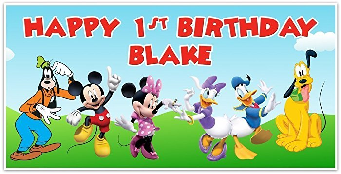 mickey mouse birthday banner with photo ; 61TETM6nqmL