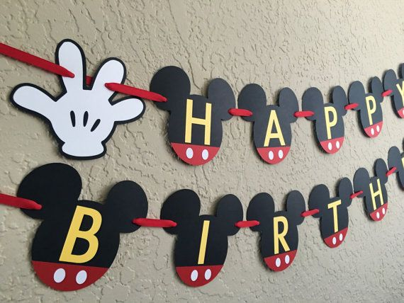 mickey mouse birthday banner with photo ; 7056e6daeec99e2b711c3155accc22ee