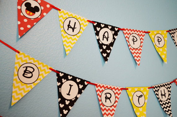 mickey mouse birthday banner with photo ; il_570xN