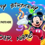 mickey mouse birthday banner with photo ; mickey-mouse-custom-name-photo-hanging-decoration-birthday-pvc-mickey-mouse-personalized-banner-150x150