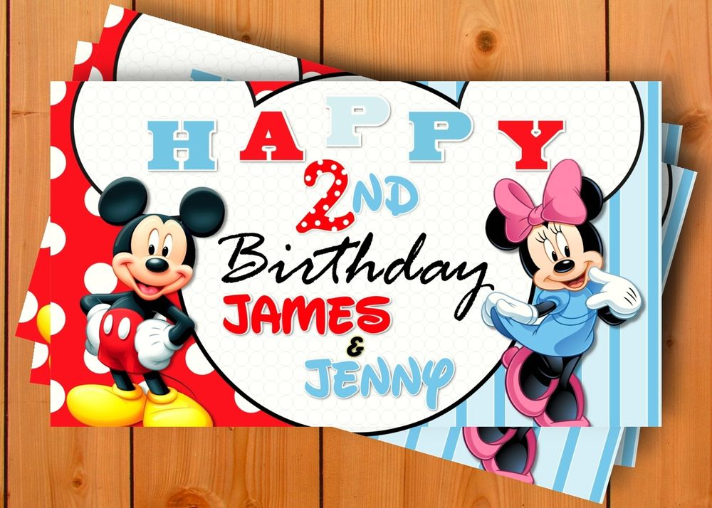 mickey mouse birthday banner with photo ; s-l1000