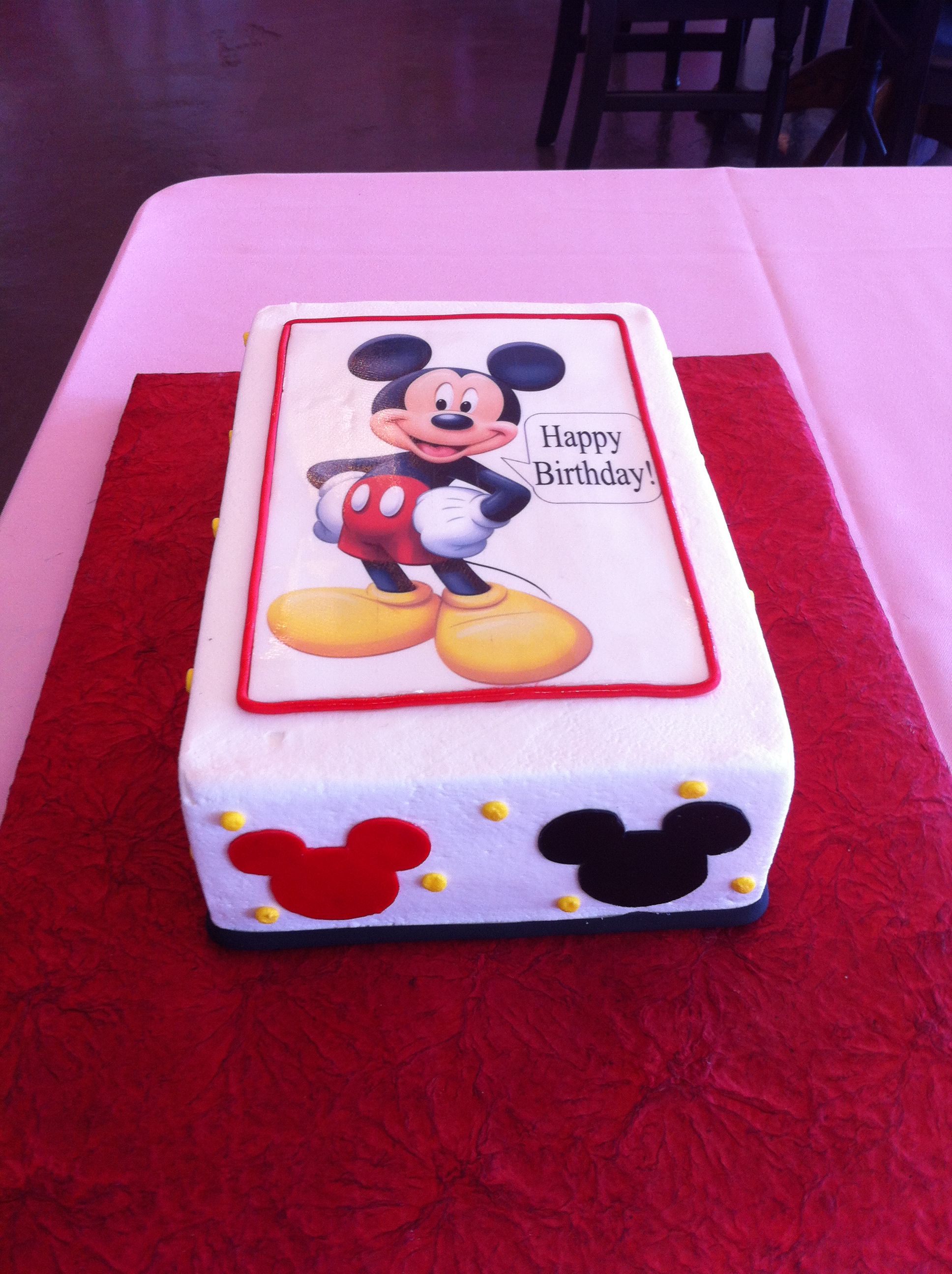 mickey mouse birthday sheet cake ; 63bf4f7225140bb9feb164a2a6d53274