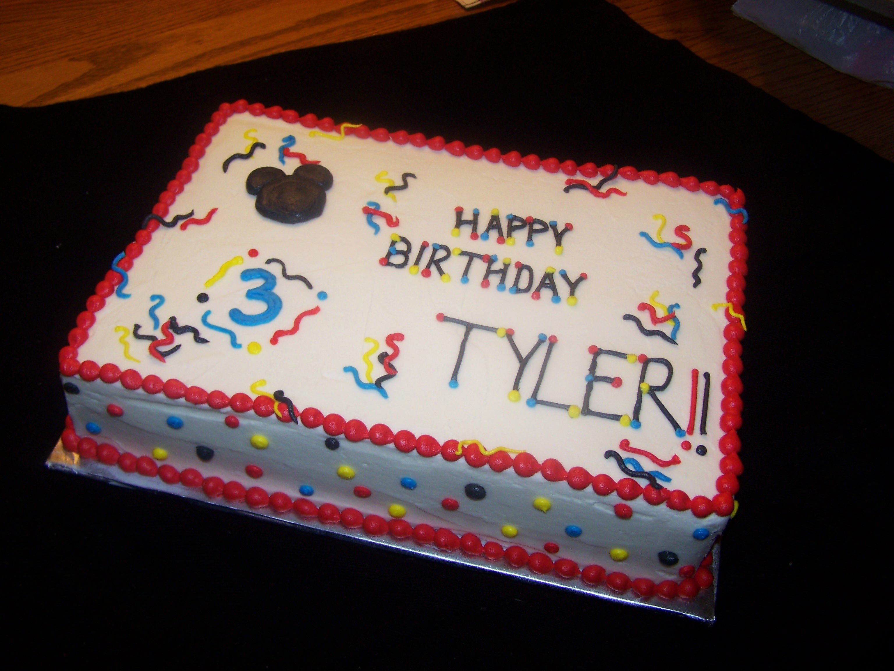 mickey mouse birthday sheet cake ; sarah-cake-032