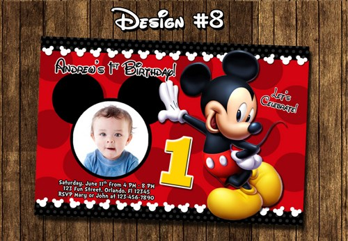 mickey mouse themed birthday party invitation ; bridal-shower-invitation-templates-personalized-mickey-mouse-customized-mickey-mouse-invitations