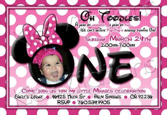 mickey mouse themed birthday party invitation ; minnie-1st_2