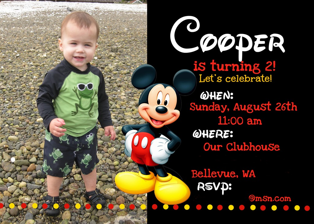 mickey mouse themed birthday party invitation ; party-invites-children-mickey-mouse-birthday-party-invitation-with-black-background-and-photo-frame