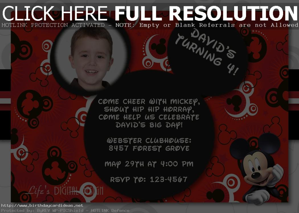 mickey mouse themed birthday party invitation wording ; mickey-mouse-first-birthday-party-invitation-wording