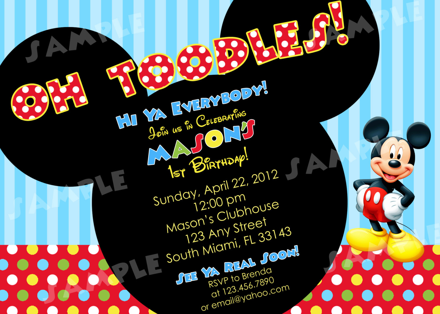 Mickey Mouse Themed Birthday Party Invitation Wording 1st Invitations
