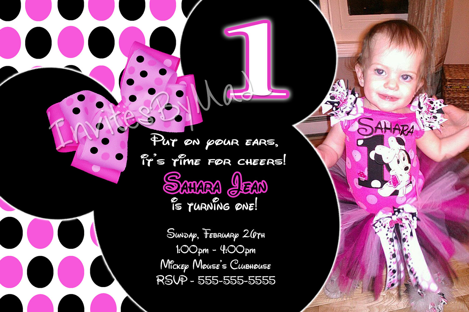 mickey mouse themed birthday party invitation wording ; minnie-1st