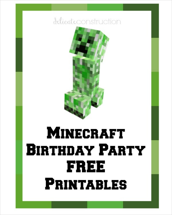 minecraft happy birthday card template printable ; Free-Minecraft-birthday-card-Printable