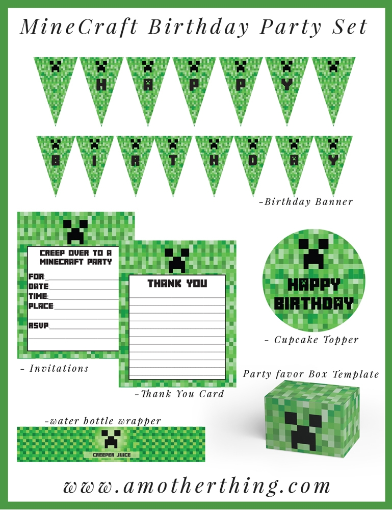 minecraft happy birthday card template printable ; minecraft-preview