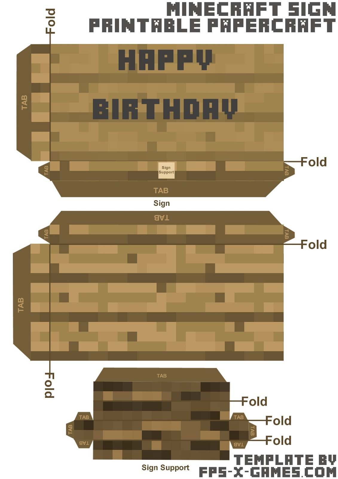 minecraft happy birthday card template printable ; minecraft-sign-papercraft-template-birthday