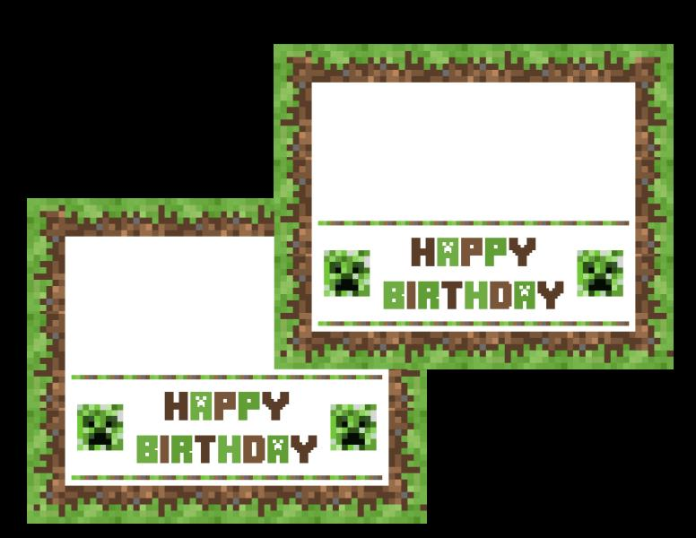 minecraft happy birthday card template printable ; minecrafttreattoppers