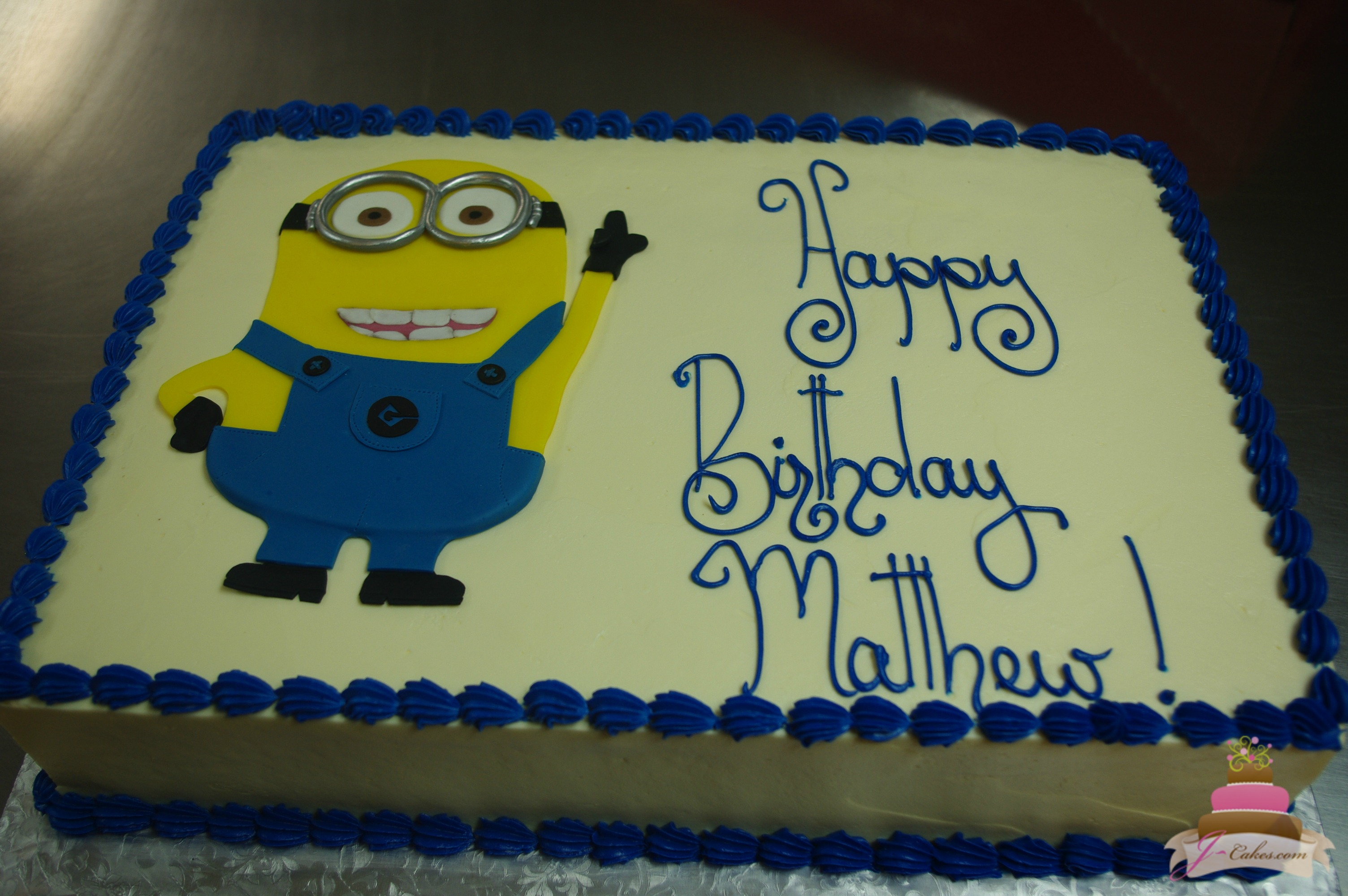 minion birthday sheet cake ; 04f6a1f0a5d72516dd0f45b0a32364a6