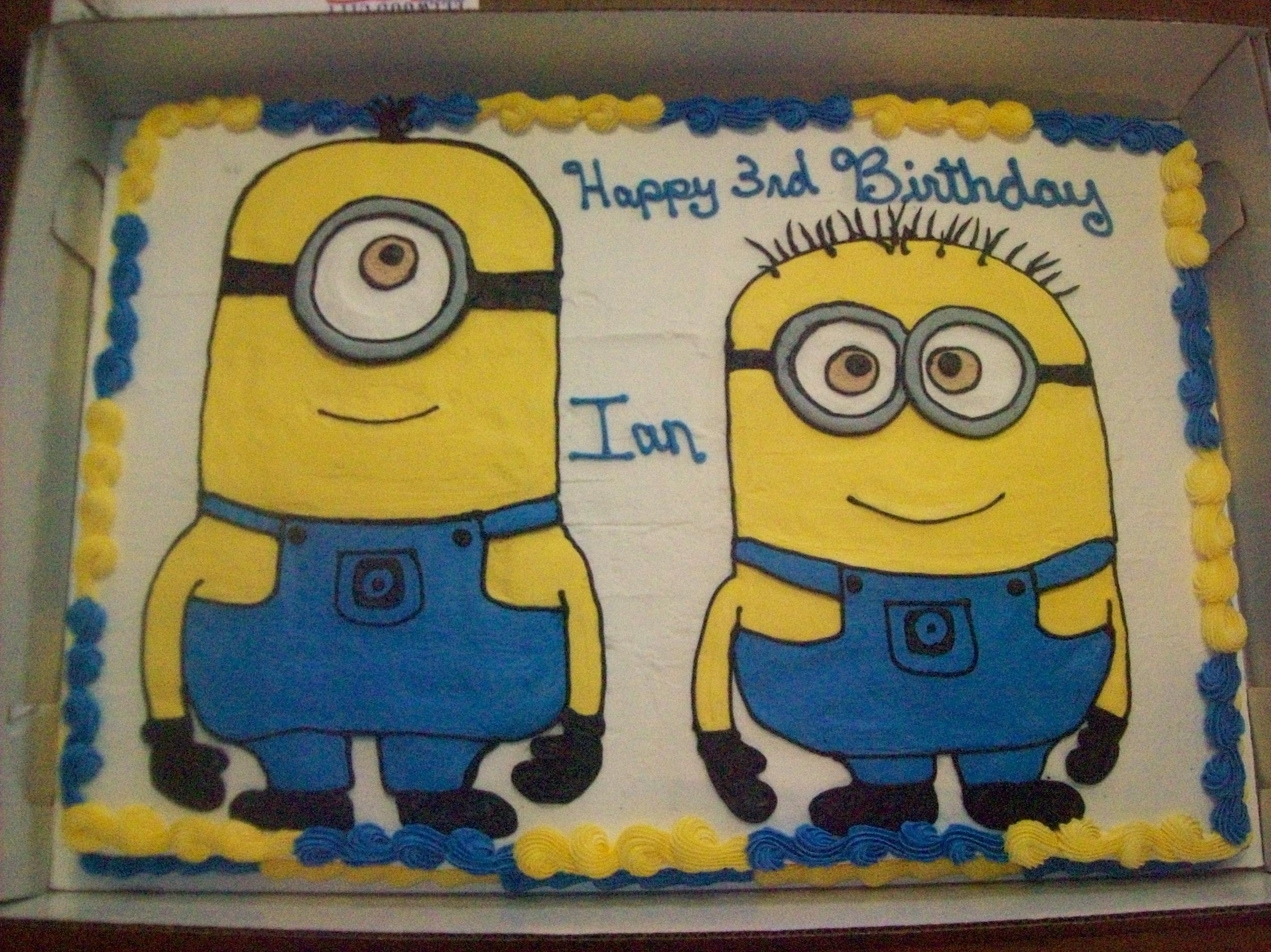 minion birthday sheet cake ; 442054543801effe3985c37b65585ba3