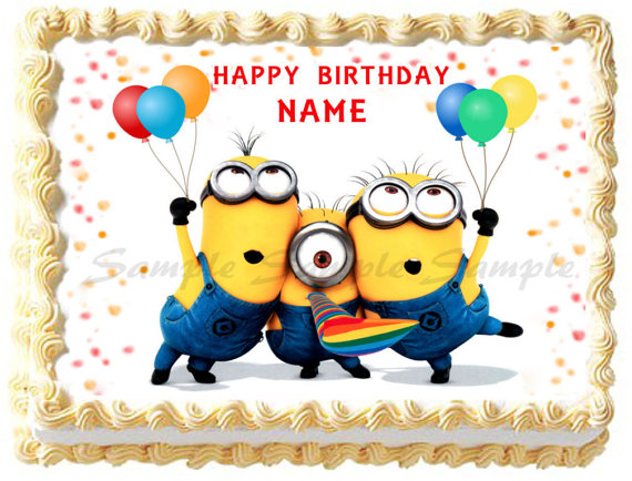 minion birthday sheet cake ; 481822605bf382fd425914e04705ccc0