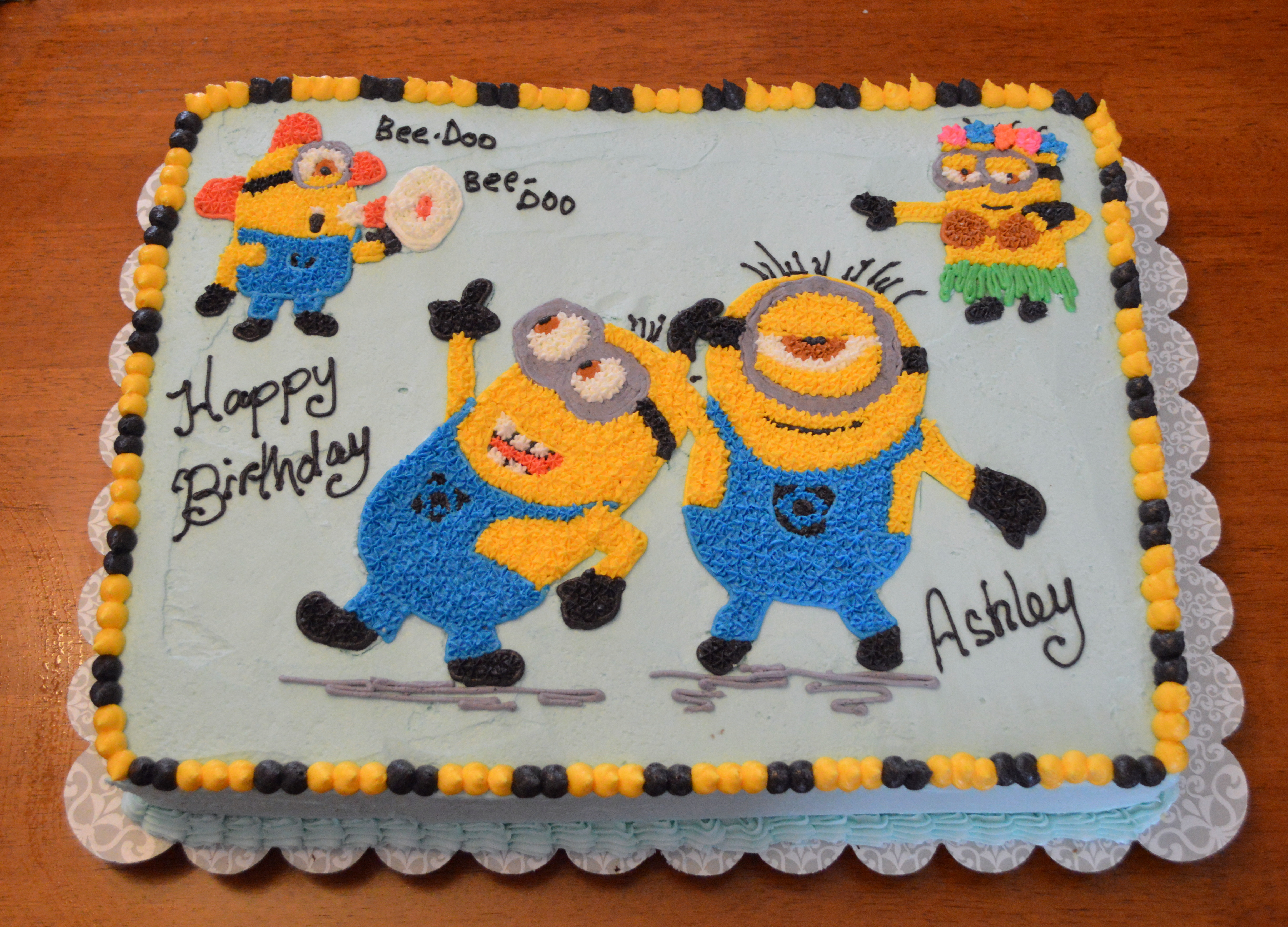 minion birthday sheet cake ; minion-cake