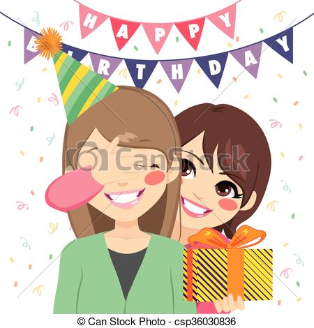 mother's birthday drawings ; surprise-birthday-gift-eps-vectors_csp36030836