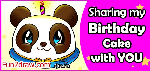 my birthday drawing ; drawing-colouring-fun2draw-birthday-cake-gift