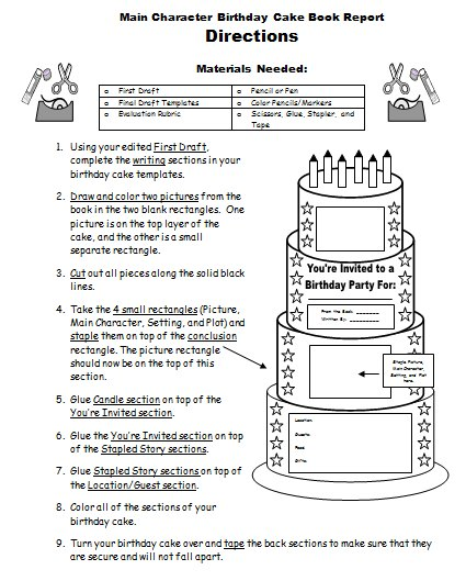 my birthday worksheet ; birthdaycakebookreportassemblydirections