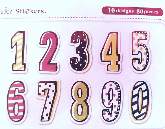 number stickers for birthday cards ; il_570xN