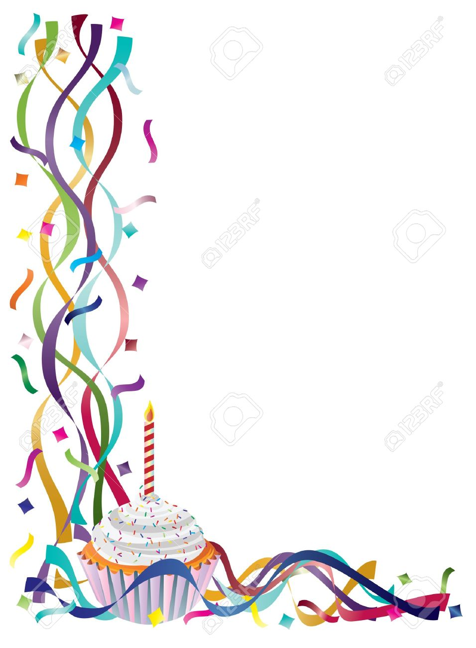 on the border birthday ; 16008406-birthday-cupcake-with-colorful-ribbons-and-confetti-border-background-illustration