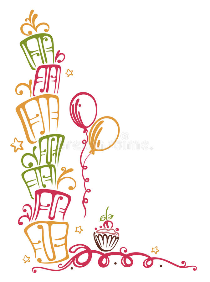 on the border birthday ; birthday-border-colorful-gifts-balloons-muffin-33573718